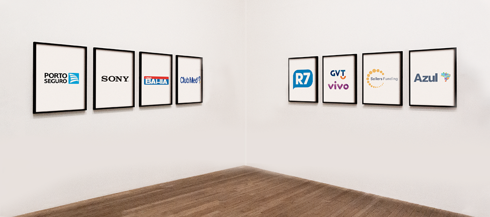 Representative Image: white room with frames embossing company logos