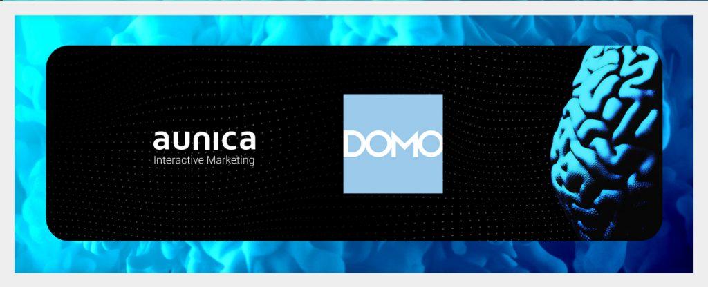 imagem ilustração com logos da aunica e da plataforma domo, que pode impulsionar negócios